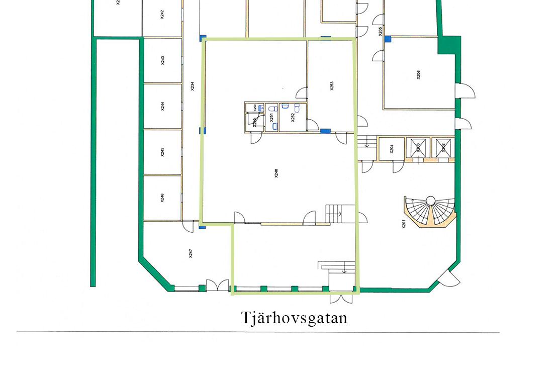 Ritning över lokaler på Tjärhovsgatan